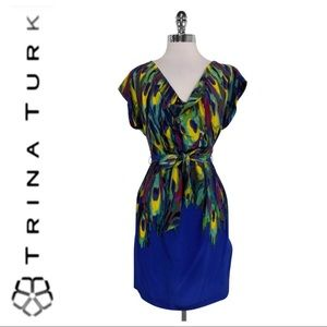 💕SALE💕Trina Turk Blue Watercolor 100% Silk Dress